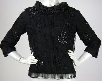 Vintage 1960s Jacket / Cocktail Blouse /Top, Black Tulle, Beaded with Beaded Fringe, Cropped, Roll Collar, Bracelet Sleeves  Medium B36-38