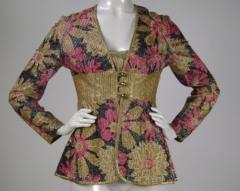 Vintage 1970s Jacket,  Retro Disco Fabulous Top in Gold, Black and Pink Floral Lamé, Mr. Leonard, B34