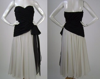 "Vintage 80s Prom Dress, Black, White, Strapless Gown,  Draped Top, Flowing Skirt, Bow Detail, Label: Frank Usher, Size Small, B 34"", W 24"""