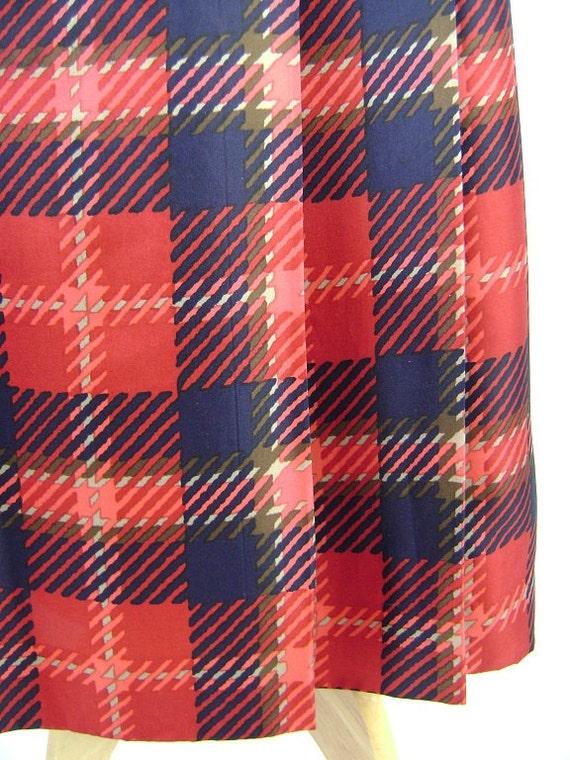 80s Skirt / Long Silk Skirt / Plaid /  1980s /  Navy / Red / Small Waist 24