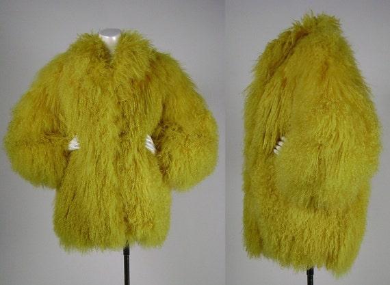 Mongolian Fur Jacket / Yellow / Chrome Yellow / Chubby Jacket / 1990's / Rave / Medium /
