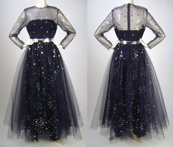 RESERVED for Shahad until 9/30/12  Sequin Gown / Long Sleeve Gown / Navy with Silver Sequins / Burlesque / Medium B36 W27