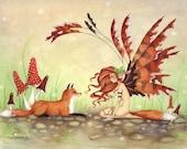 Fantasy Fine Art Print - 5x7 -  The Fox's Faery - Whimsical, woodland, animal, fairy tale, illustration