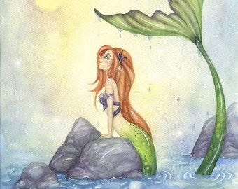 Fantasy Art Print - Mermaid Dreaming - ocean. whimsical. fairy tale. girl. watercolor art. sea. tail.