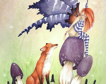 Fairy Art Original Watercolor Painting - 9x12 - A Fox and a Fairy - whimsical. fantasy. girl. purple. woodland. fairy tale. cute. animal.