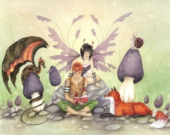 Fairy Art Watercolor Print - Story Time - fantasy. whimsical. fox. dragon. book. reading. mushrooms. cute. children.