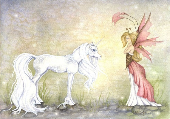 Fantasy Art Original Watercolor Painting - 9x12 - First Encounter - fairy, unicorn, princess, pink, whimsical, girl, children