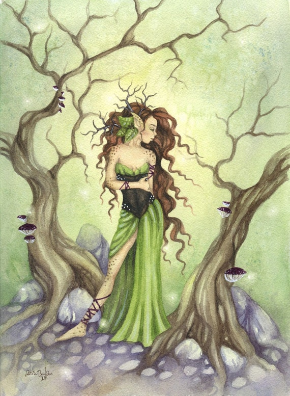 8.5x11 Whimsical Fantasy Fine Art Print, Lady of the Forest