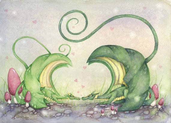 Fantasy Art Watercolor Print - Dragon Love - whimsical. fairy tale. green. pink. cute. illustration.