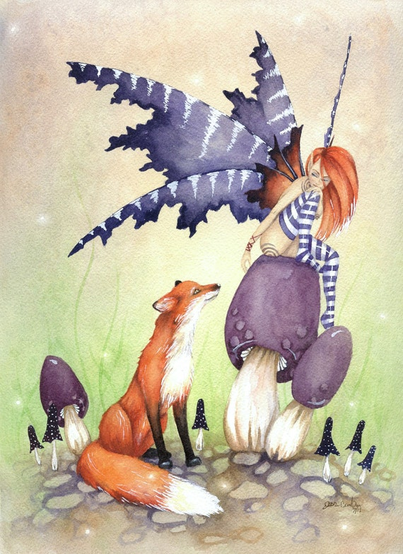 Fairy Art Original Watercolor Painting - 9x12 - A Fox and a Fairy - whimsical. fantasy. girl. purple. woodland. fairy tale. cute. animal.