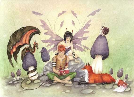 Fantasy Art Original Watercolor Painting - 9x12 - Story Time - fox, animal, dragon, fairy, whimsical, bright, children, book