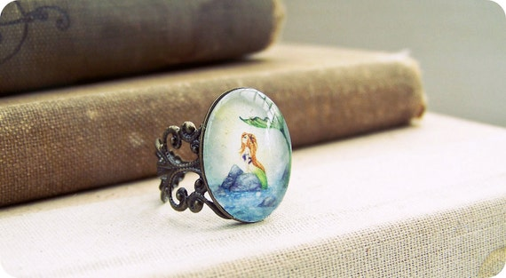 Fantasy Art Glass Ring - Mermaid Dreaming - Wearable, whimsical, ocean, sea, girl, stocking stuffer, vintage inspired