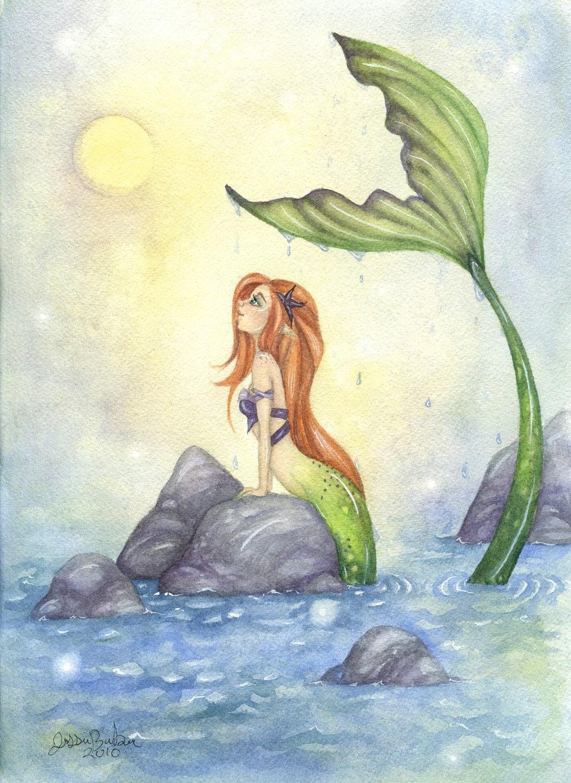Fantasy Art Print Merm... Fantasy Mermaids On Rocks