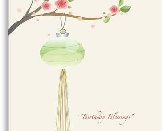 Birthday Card - Crystal Embellished Lantern Card