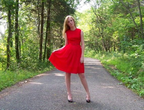 RESERVED Please Do Not Buy 50s 60s Vintage Dress Red Chiffon XS