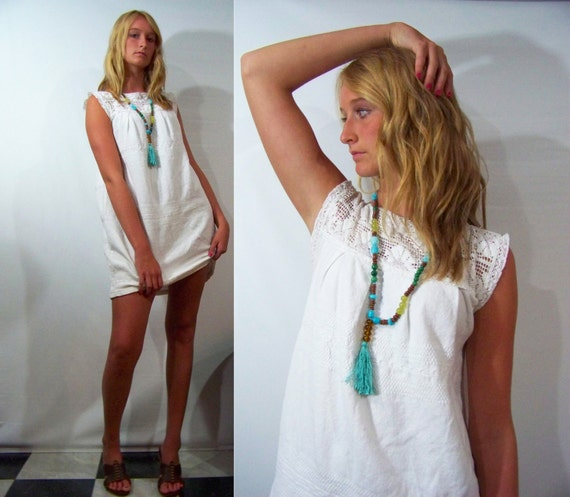 70s Mexican Mini Dress L White Crochet Lace