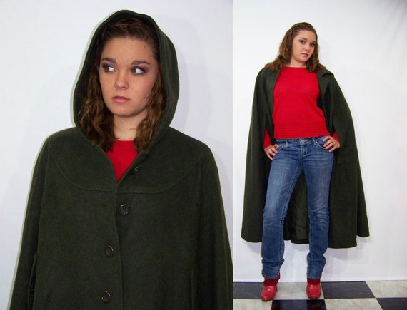 70s Wool Cape Hunter Green Hooded Vintage