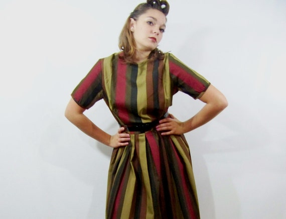 60s Dress Striped School Girl Day Dress Medium M NOS Pleated Skirt Short Sleeve Vintage 1960s