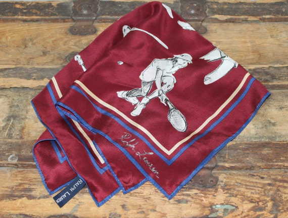RESERVED Please Do Not Buy 80s 1980s Silk Scarf Ralph Lauren Tennis Players Burgundy Vintage