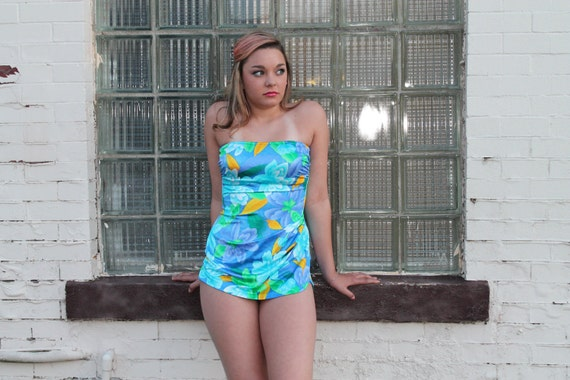70s 50s Swimsuit Swimwear Catalina One Piece Bathing Suit Strapless Floral Turquoise 1950s 1970s