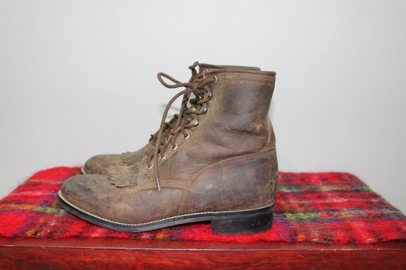 Vintage 90s Boots Western Cowboy Roper Ankle Lace Up Country W 8 M 6.5 Country Leather 80s