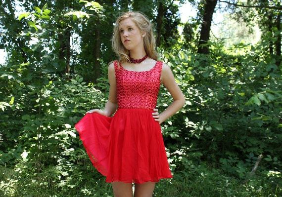 60s Mini Dress Prom Party Red Sequin Chiffon Full Skirt Small S XS 1960s Sleeveless Vintage