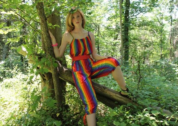 Vintage 80s Jumpsuit Rainbow Striped Crop Capri Spaghetti Straps Summer Pants Medium M 1980s