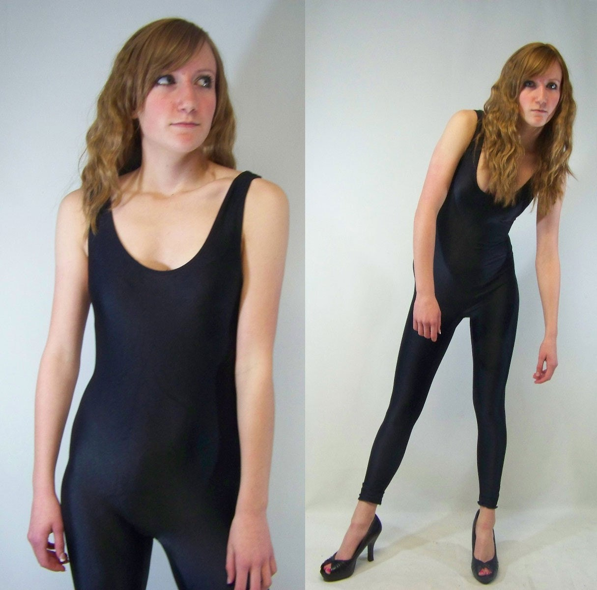 80s Black Spandex Unitard Bodysuit Pants M L By Scarletfury