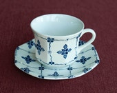 Blue and White Tea Cup - Royal Staffordshire Homespun Ironstone by J. and G. Meakin, England