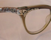 Vintage Silver Leaves and Bronze Unversal Cateye Eyeglasses Frames, Plastic Metal Combination