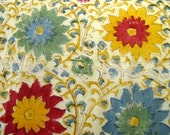 Vintage 60s Hand Printed India Cotton Bedspread, Blue & Red Flower Power Floral