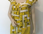 Vintage 60s 70s Handmade Smock, Fun Black & Yellow Tape Measure Print, Size  6 to 8