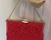 Vintage 60s Hot Pink Rafia Straw Purse with Goldtone chain Handle