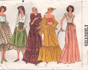 Vintage 70s Prairie Skirt & Shawl Vogue Pattern 9228, Waist 25, Partially UC