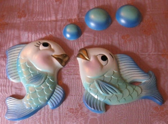 Vintage Miller Studio Chalkware Bathroom Fish 1964 Blue Green