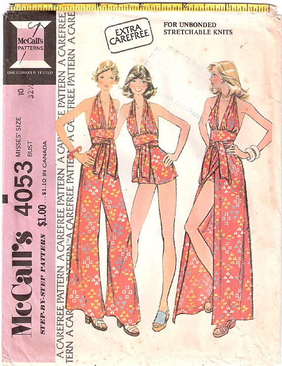 Vintage 70s McCalls Halter Top, Shorts, Pants and Skirt Pattern 4053, Size 10