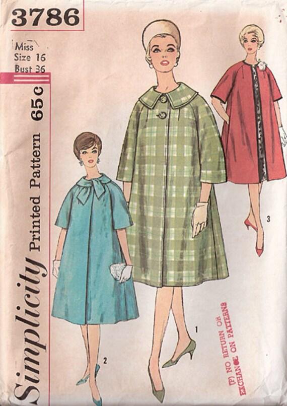 Vintage 50s Swing Coat Simplicity Pattern 3786, Size 16, Bust 36, UC FF