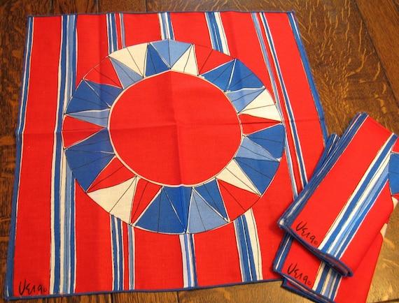Vintage Vera Neumann Napkins, Red White & Blue Geometrics, Set of 3, Deadstock NWOT