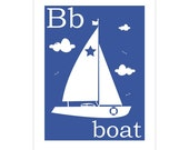 Children's Wall Art / Nursery Decor B is for Boat 8x10 inch print