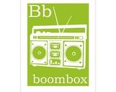 Children's Wall Art / Nursery Decor B is for Boombox 8x10 inch print