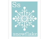 S is for Snowflake 8x10 inch print