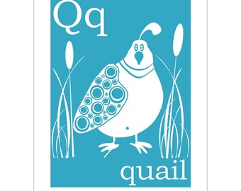 Q is for Quail 8x10 inch print by Finny and Zook