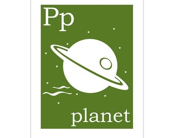 Children's Wall Art / Nursery Decor P is for Planet  poster print