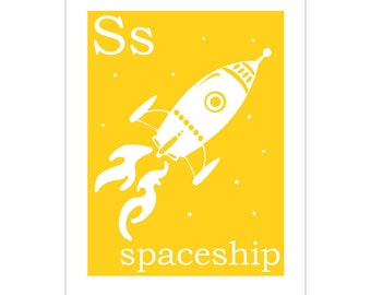 Children's Wall Art / Nursery Decor S is for Spaceship poster print by Finny and Zook