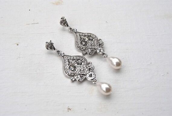 CLEARANCE - Filigree Bridal Chandelier Earrings