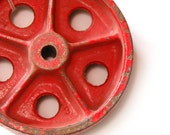 Vintage Small Red Iron Wheel, Industrial Machine Architectural Salvage (E391)