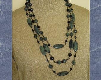 Jasper Necklace Earrings Set Kambaba Jasper Triple Strand Bib Black Green Gray Statement Beaded Wire Wrapped  (M-143)