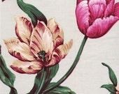 Vintage large scale Bouquet fabric sample on Light Grey glazed cotton