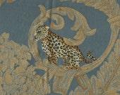 Vintage Leopard and Tiger Damask silk blend fabric sample in Blue colorway
