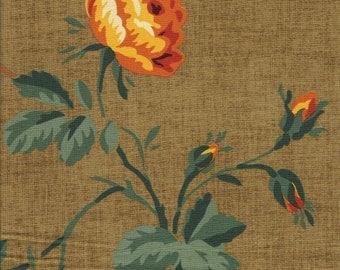 Vintage Victorian Rose pattern fabric sample on cotton